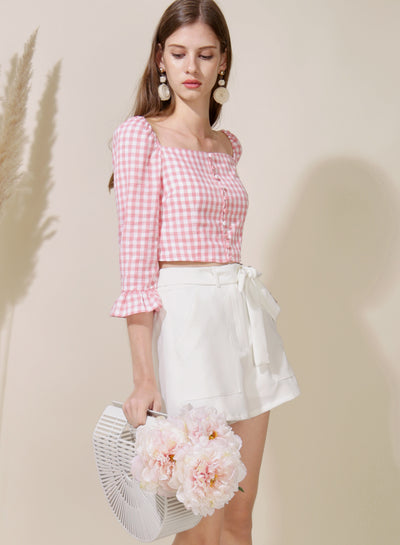 Honour Button Down Sleeved Top (Pink) at $ 25.50 only sold at And Well Dressed Online Fashion Store Singapore