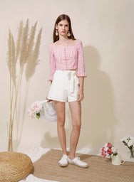Honour Button Down Sleeved Top (Pink) at $ 36.00 only sold at And Well Dressed Online Fashion Store Singapore