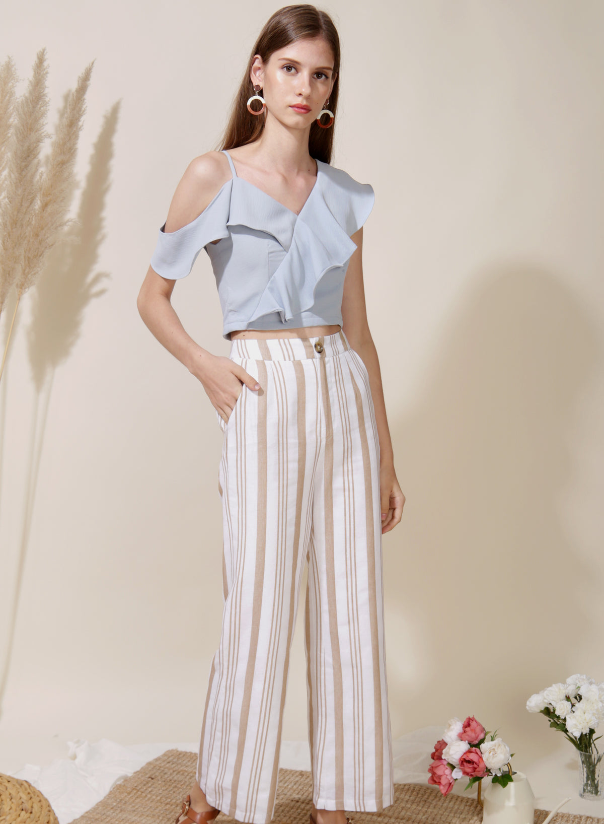 Belief Striped Linen Pants (Oat) at $ 38.00 only sold at And Well Dressed Online Fashion Store Singapore