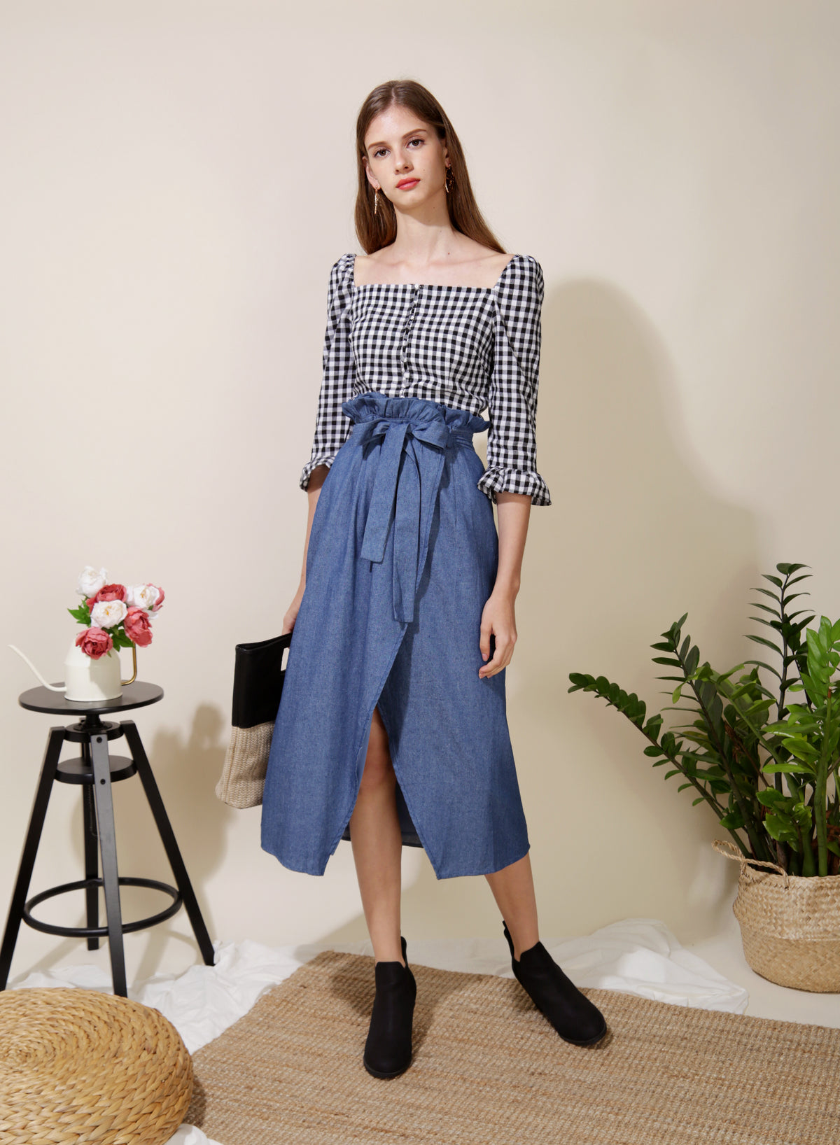 Honour Button Down Sleeved Top (B/W Gingham) at $ 36.00 only sold at And Well Dressed Online Fashion Store Singapore