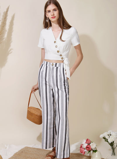 Belief Striped Linen Pants (White) at $ 38.00 only sold at And Well Dressed Online Fashion Store Singapore