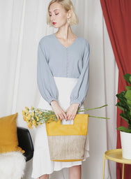 NOSTALGIA Button Down Top (Blue Grey) at $ 34.50 only sold at And Well Dressed Online Fashion Store Singapore