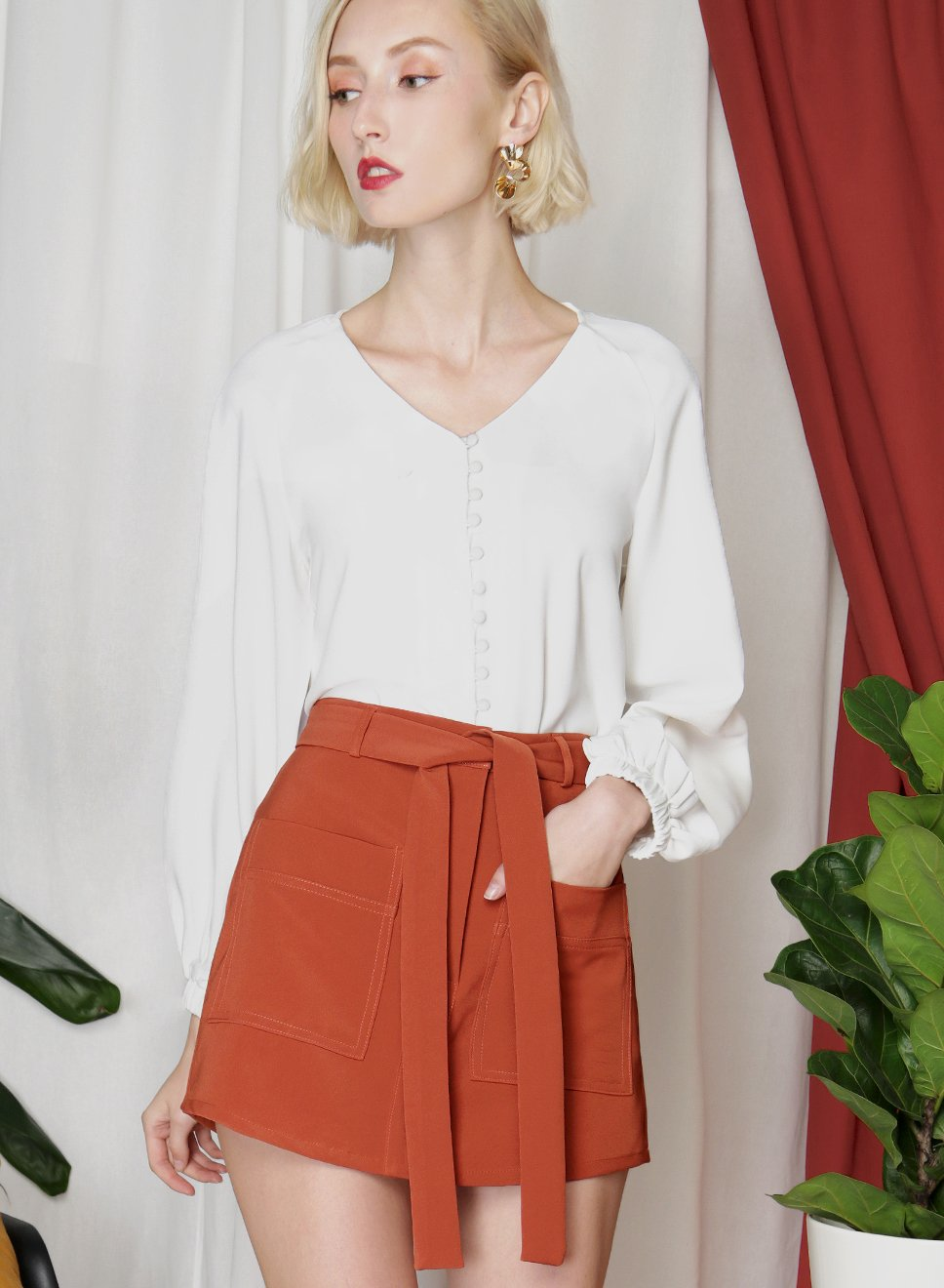 ELEVATE Double Pocket Skorts (Terracotta) - And Well Dressed