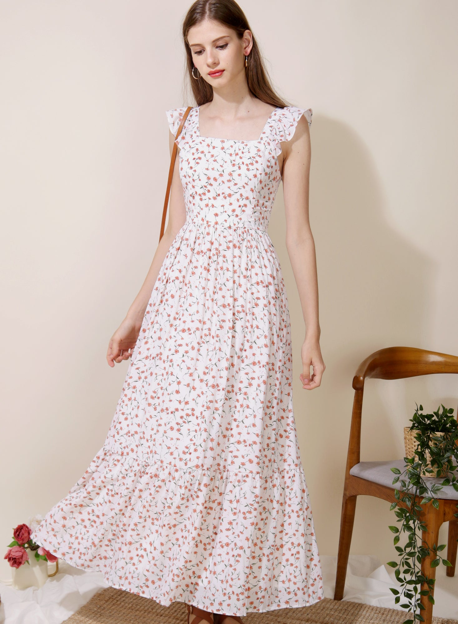 Ceremony Frill Straps Maxi Dress (Floral) at $ 46.50 only sold at And Well Dressed Online Fashion Store Singapore