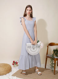 Ceremony Frill Straps Maxi Dress (Lilac Grey) at $ 46.50 only sold at And Well Dressed Online Fashion Store Singapore