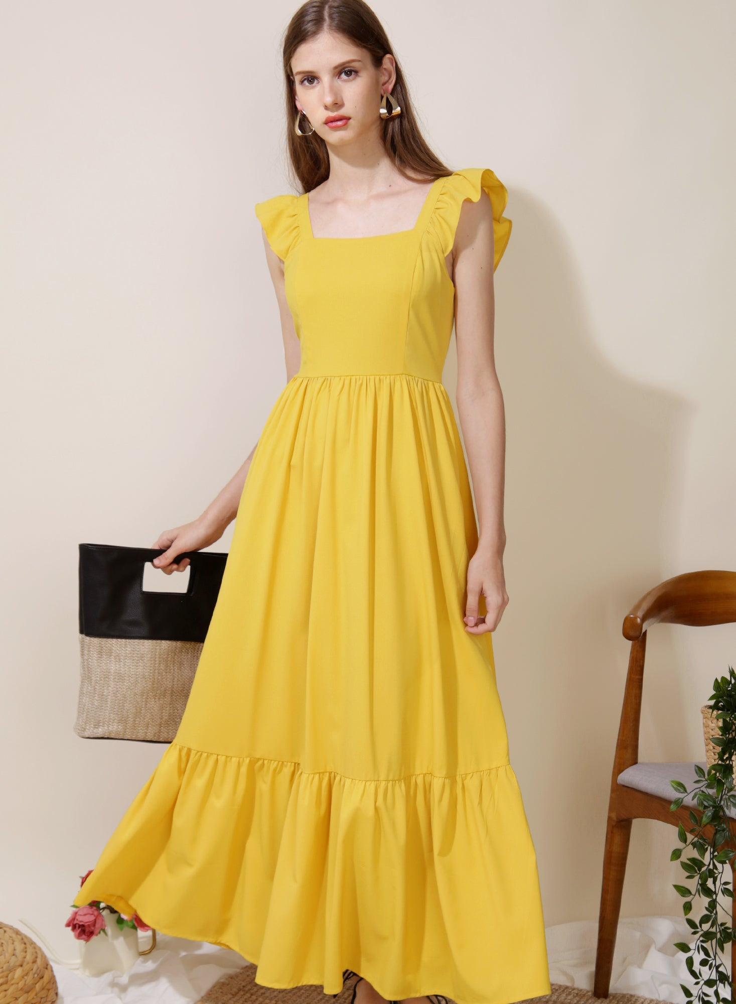 Ceremony Frill Straps Maxi Dress (Lemon) at $ 46.50 only sold at And Well Dressed Online Fashion Store Singapore