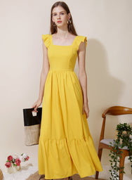 Ceremony Frill Straps Maxi Dress (Lemon)