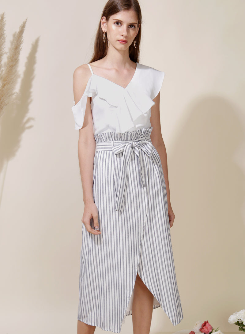 Lighthouse Paperbag Skirt (Navy Stripes) at $ 29.50 only sold at And Well Dressed Online Fashion Store Singapore