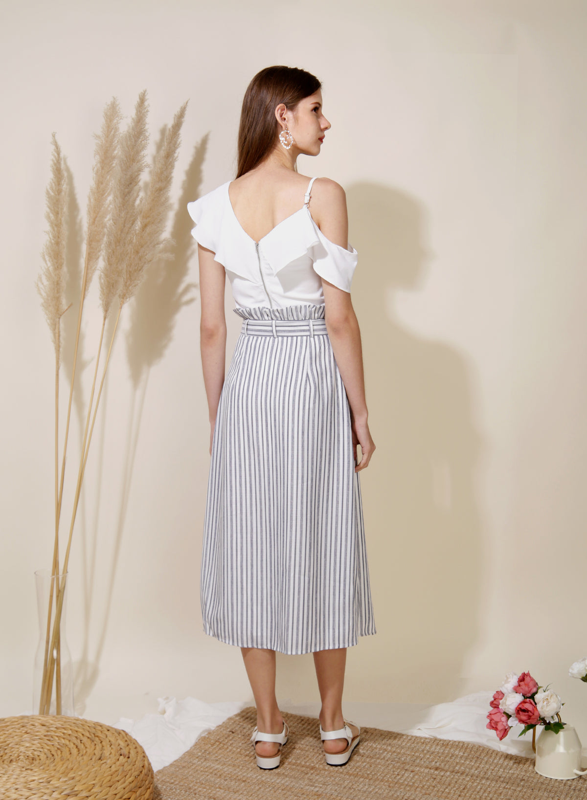 Lighthouse Paperbag Skirt (Navy Stripes)