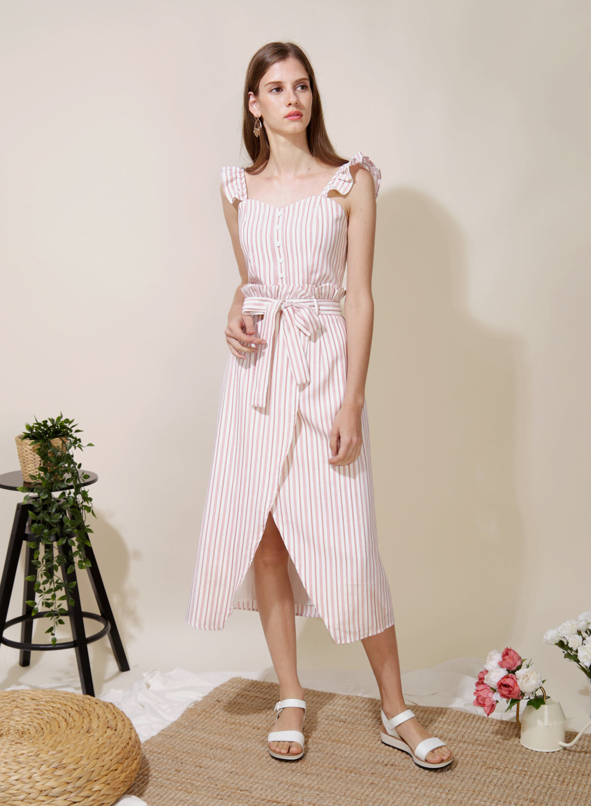 Lighthouse Paperbag Skirt (Pink Stripes)