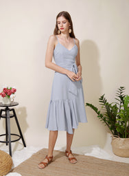 Trifle Asymmetric Ruffle Hem Dress (Lilac Grey) at $ 45.00 only sold at And Well Dressed Online Fashion Store Singapore