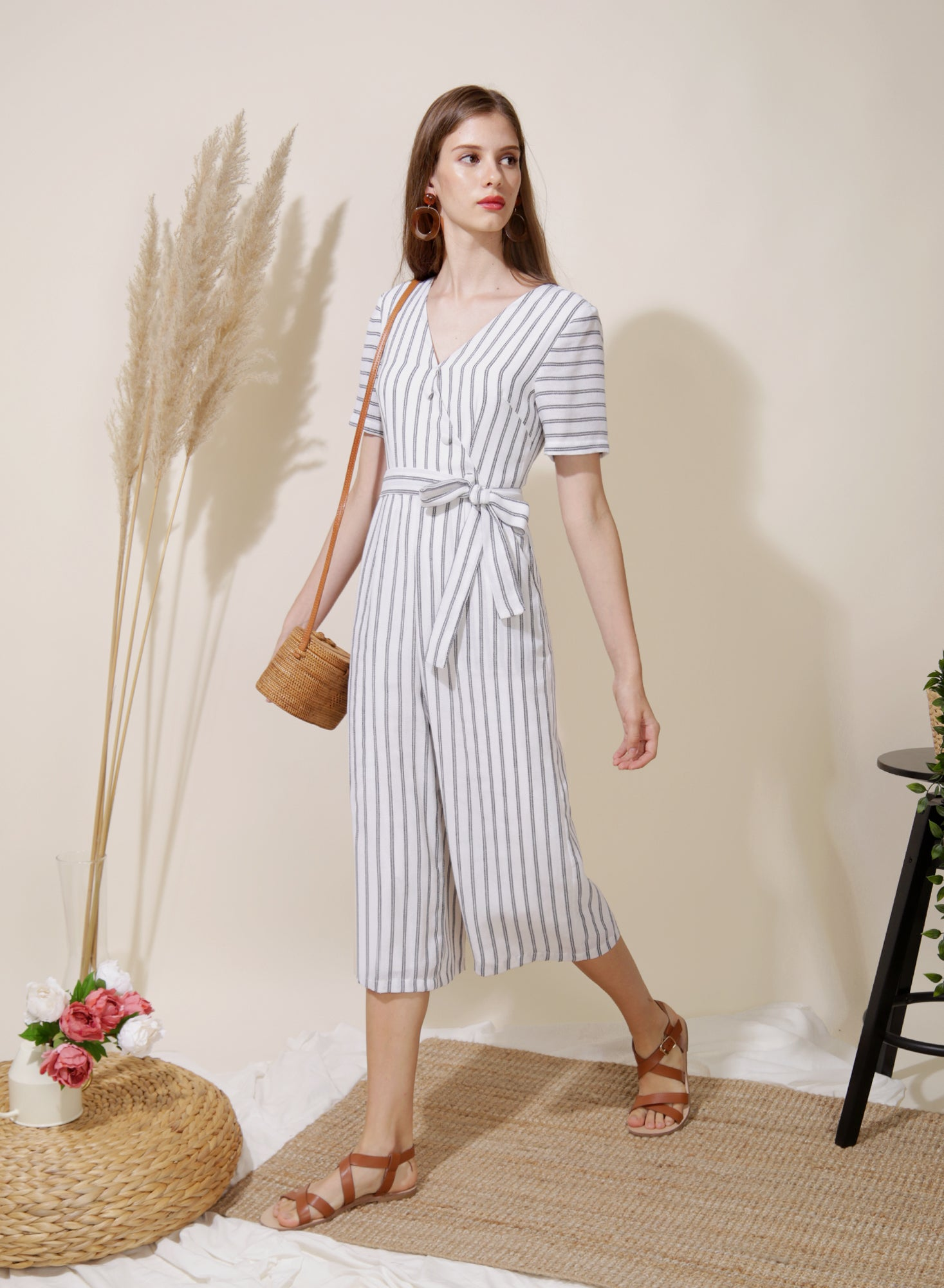 Celebrate Striped Jumpsuit (White) - And Well Dressed