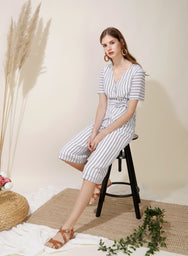 Celebrate Striped Jumpsuit (White)