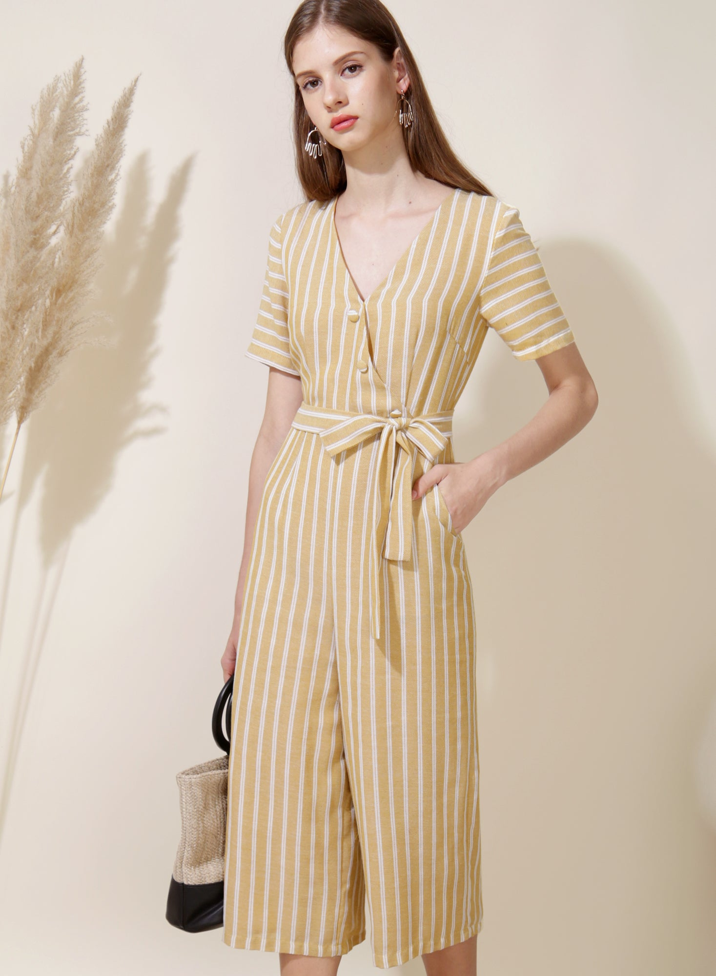 Celebrate Striped Jumpsuit (Yellow) - And Well Dressed