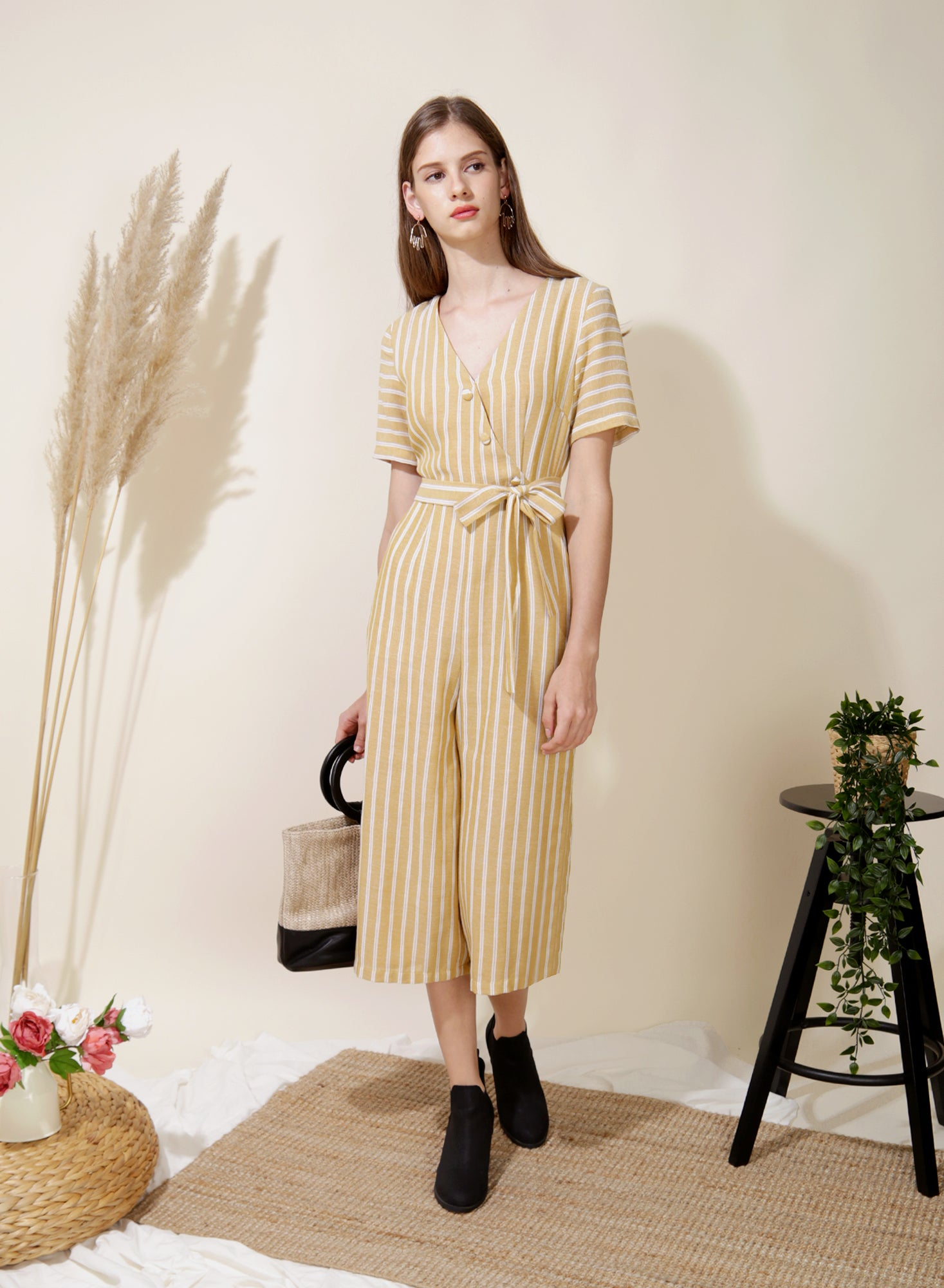 Celebrate Striped Jumpsuit (Yellow) at $ 43.50 only sold at And Well Dressed Online Fashion Store Singapore