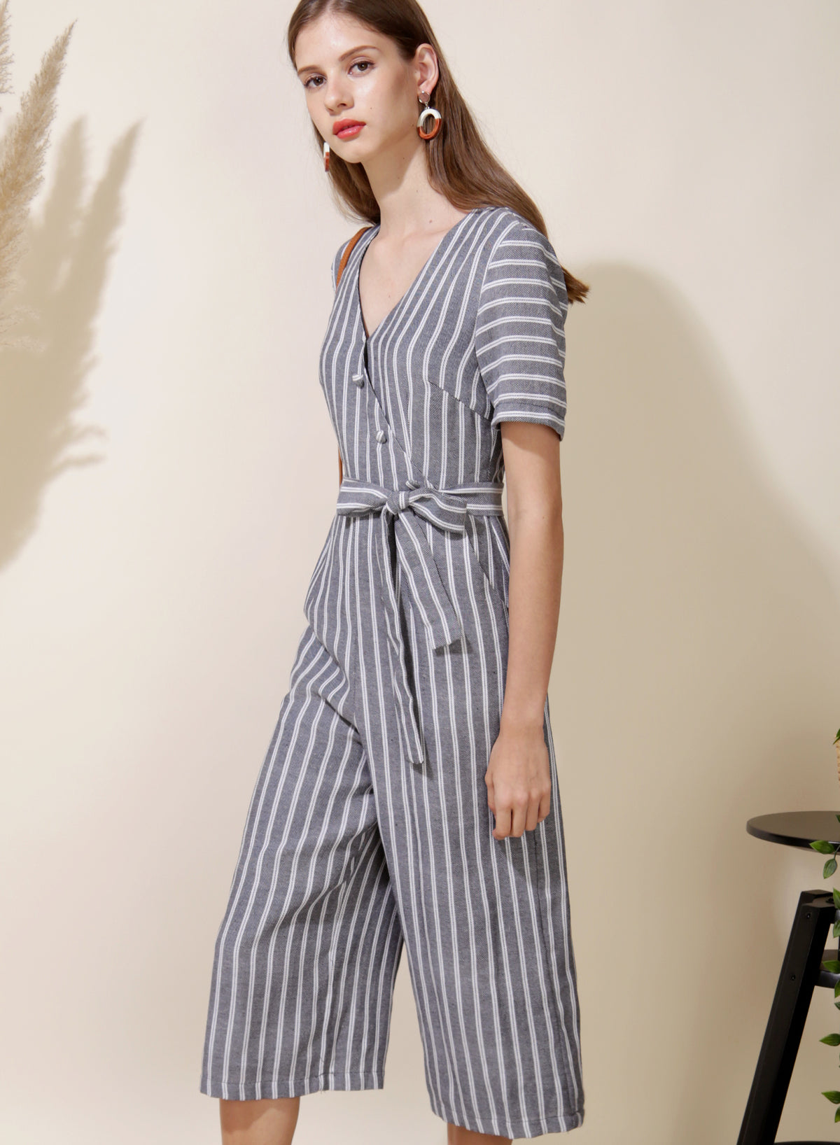 Celebrate Striped Jumpsuit (Navy) at $ 43.50 only sold at And Well Dressed Online Fashion Store Singapore