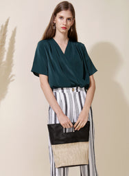 Savour Wrap Front Top (Forest) at $ 33.50 only sold at And Well Dressed Online Fashion Store Singapore