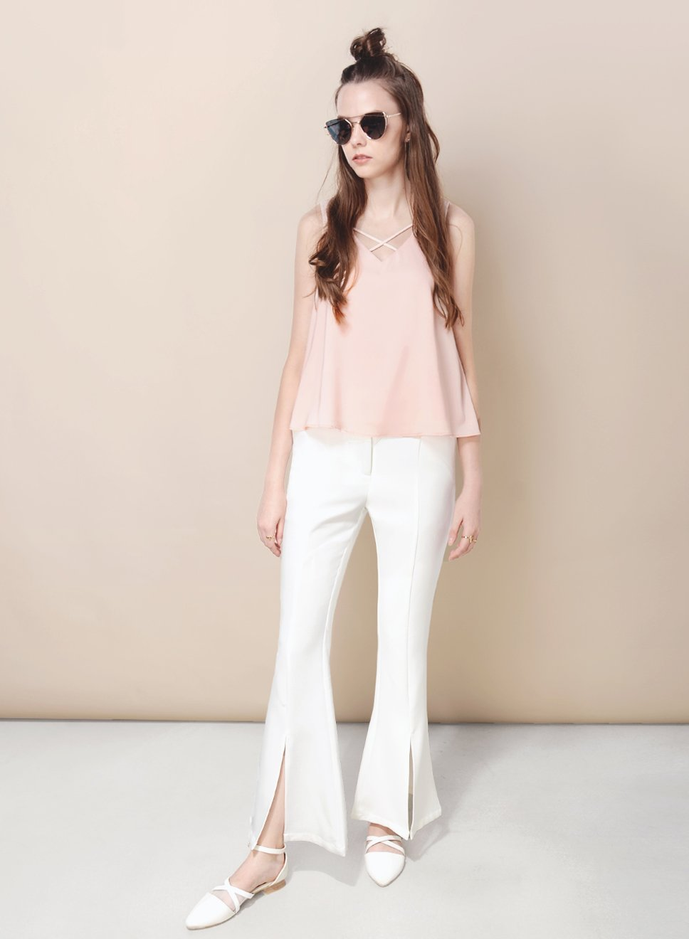 SUNDER split front pants (White) - And Well Dressed