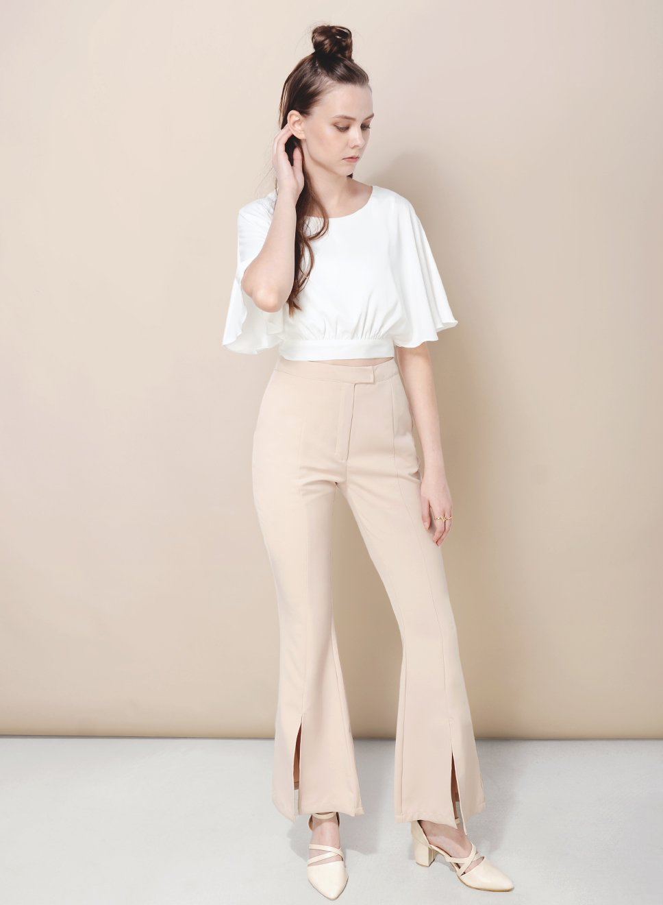 SUNDER split front pants (Sand) at $ 18.50 only sold at And Well Dressed Online Fashion Store Singapore