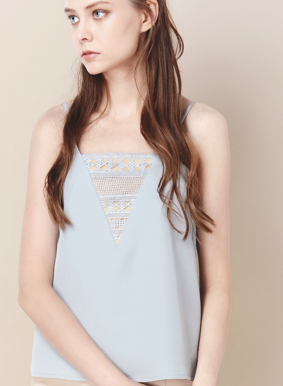 ALLURE Crochet Detail Top (Dusk Blue) at $ 20.50 only sold at And Well Dressed Online Fashion Store Singapore
