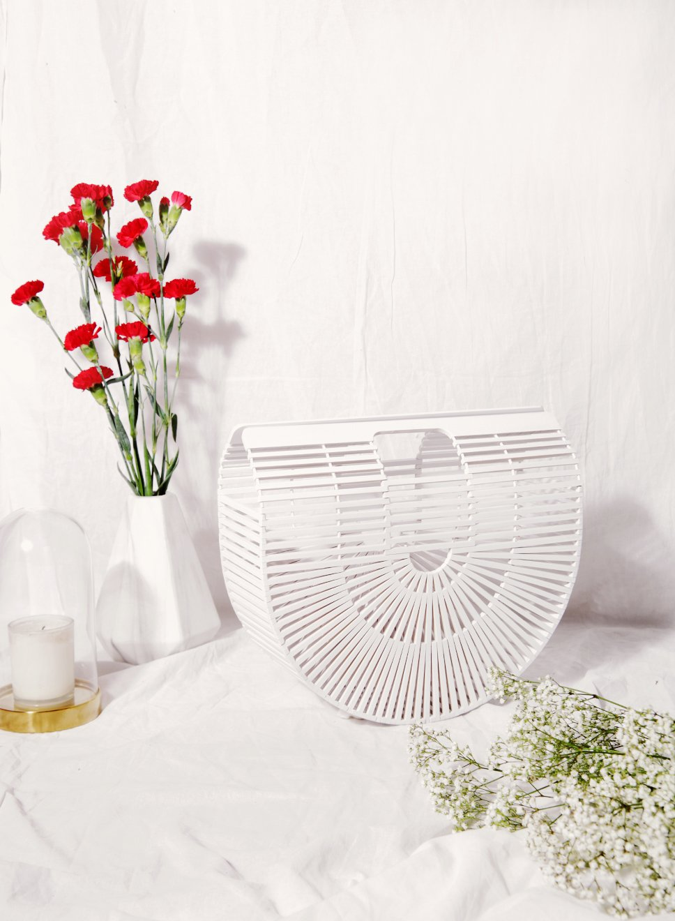 WILLOW Crescent Bamboo Clutch (White) - And Well Dressed