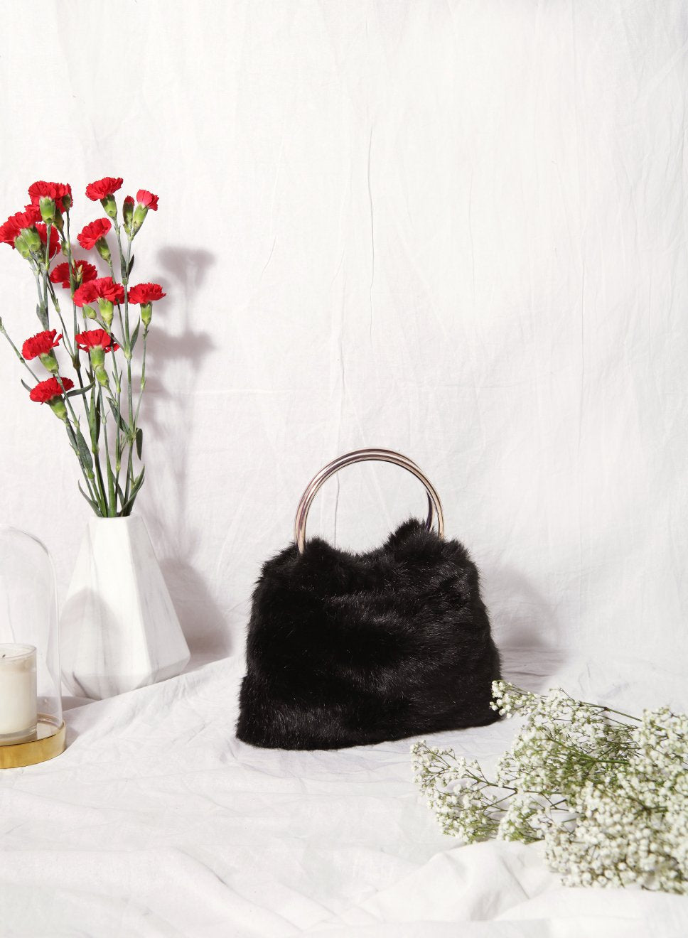 Harper Faux Fur Handle Clutch (Black) - And Well Dressed
