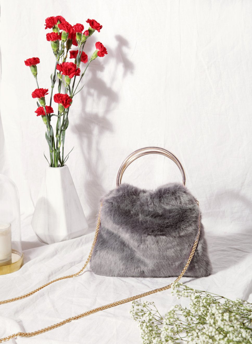 Harper Faux Fur Handle Clutch (Grey) - And Well Dressed
