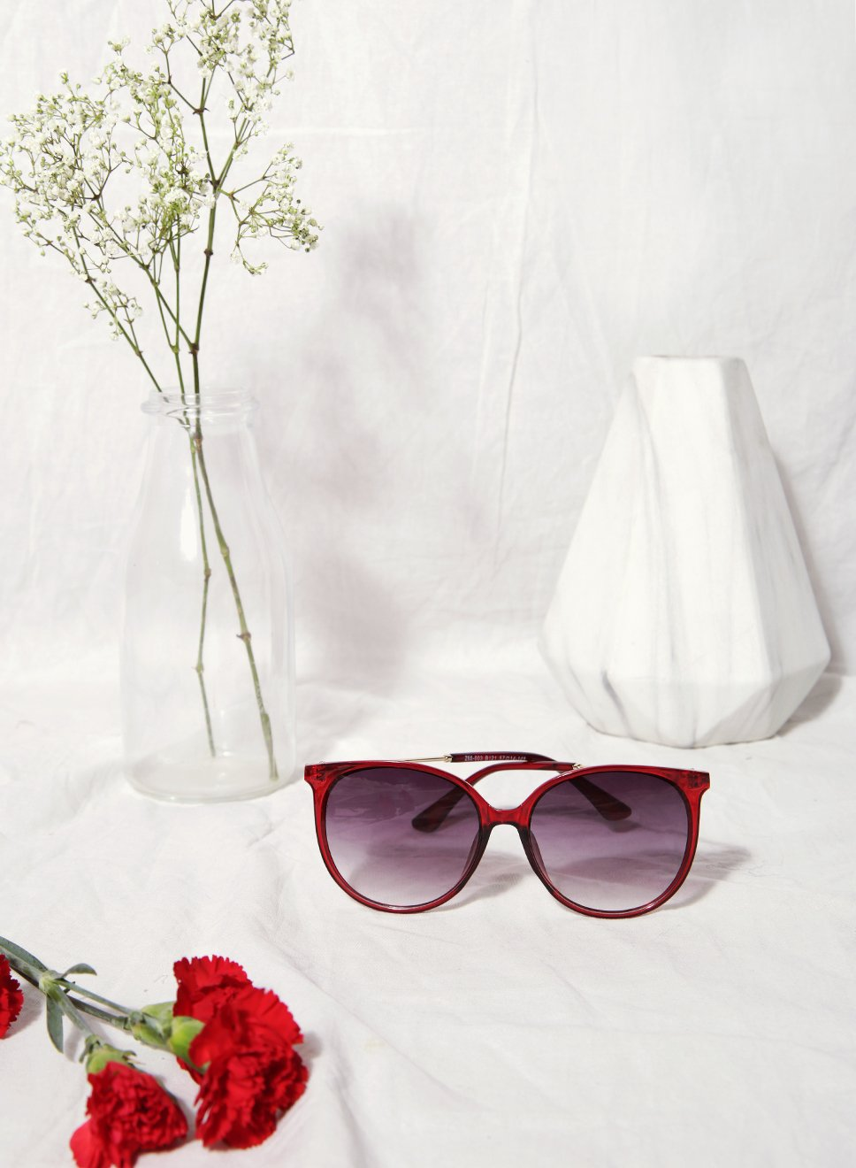 Stella Round Framed Red Sunnies at $28.00 only sold at And Well Dressed Online Fashion Store Singapore