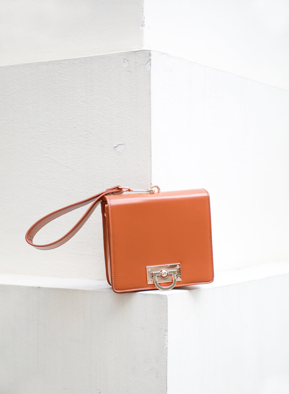 AUBREY Box Clutch Bag (Camel) at $ 32.50 only sold at And Well Dressed Online Fashion Store Singapore