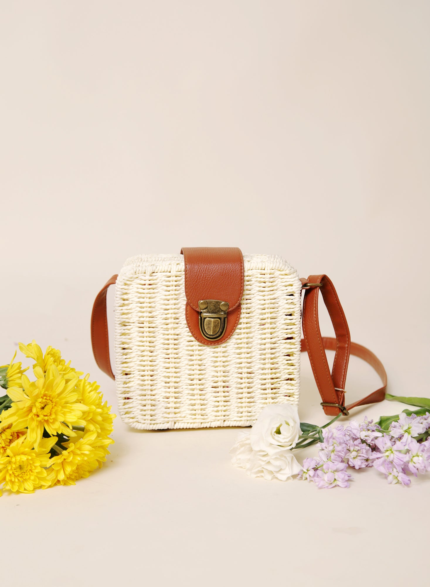 Cale Woven Box Bag (Light) at $31.50 only sold at And Well Dressed Online Fashion Store Singapore