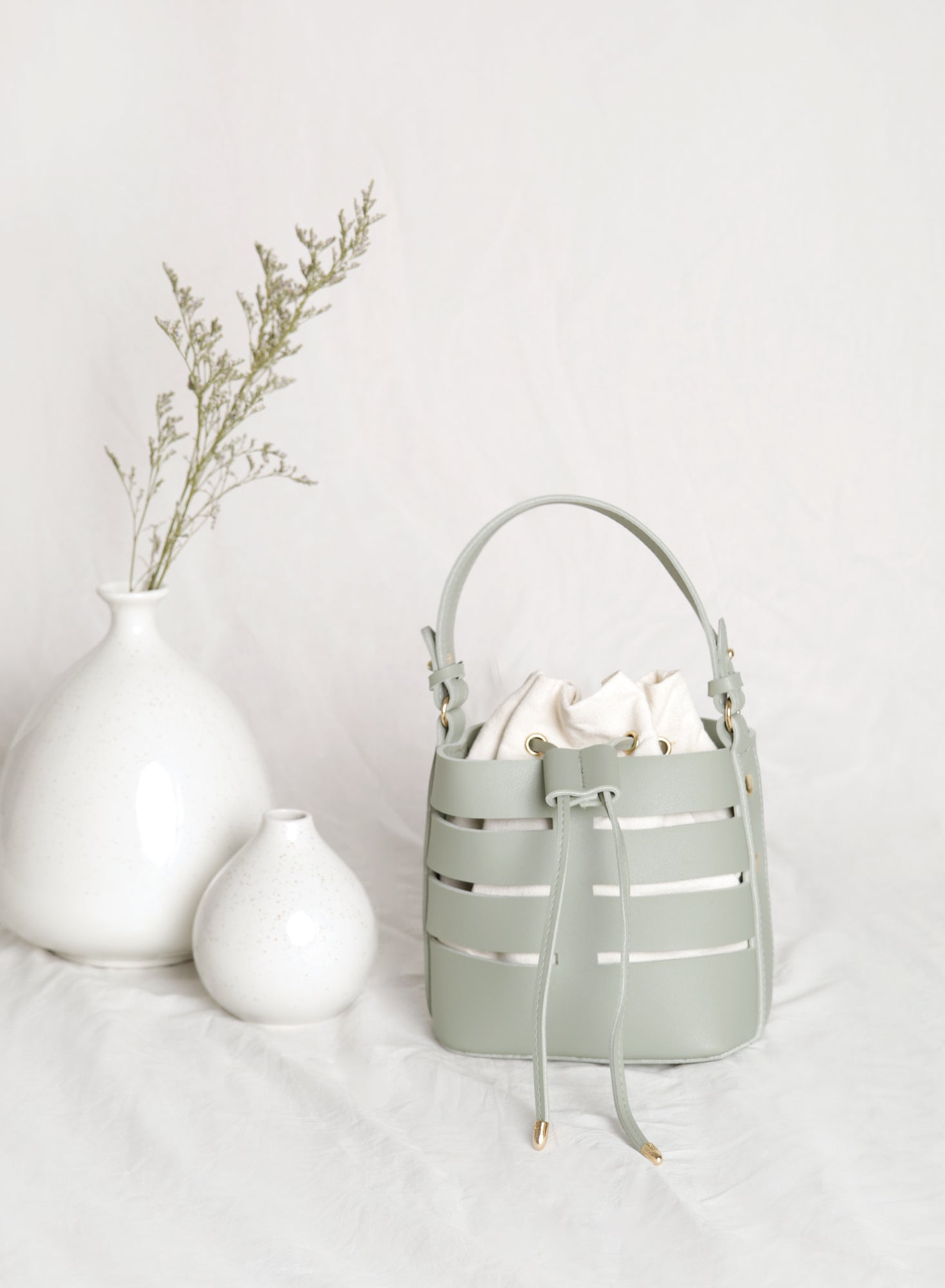 Frances Cutout Bucket Bag (Sage)
