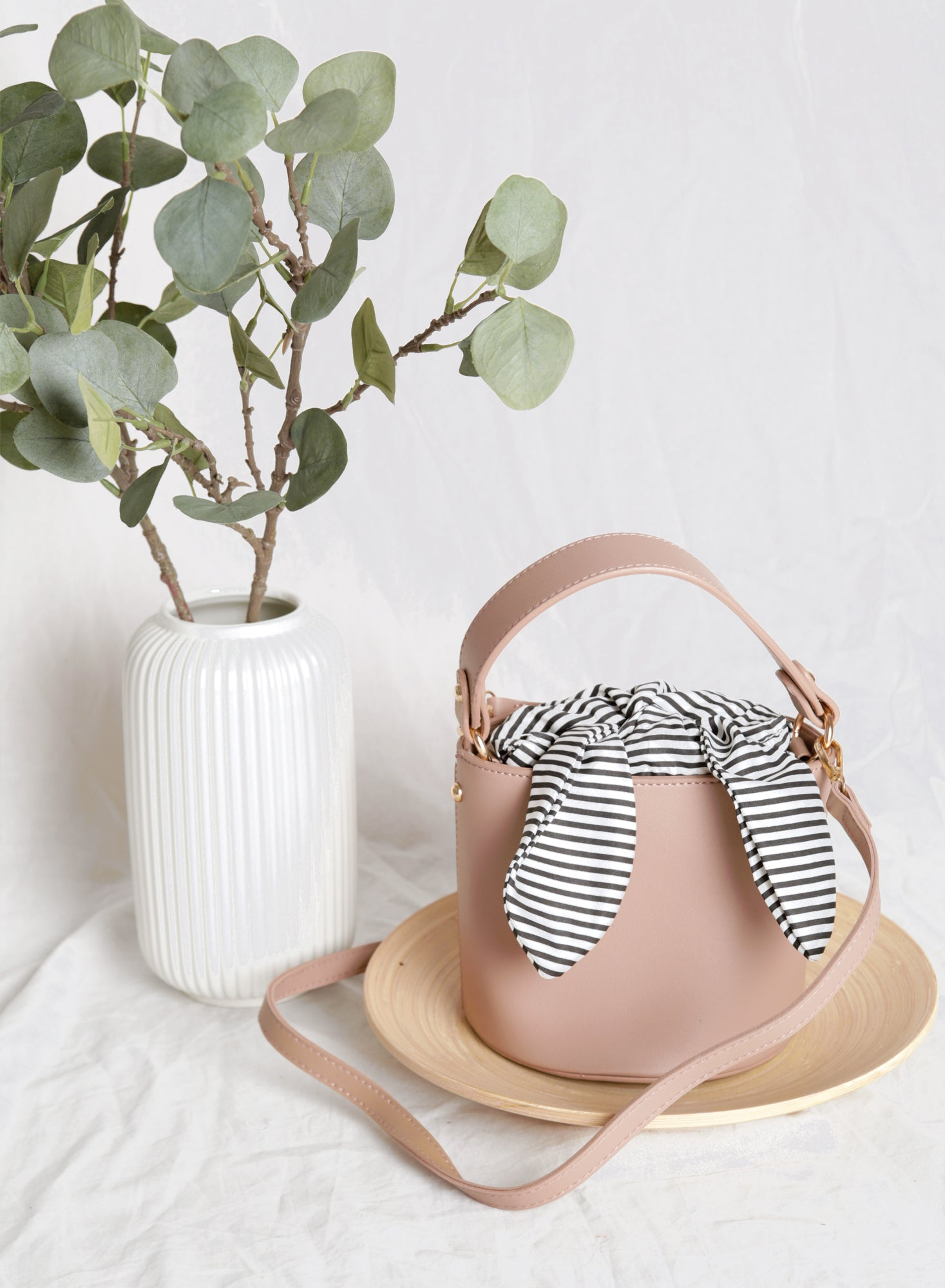 Ellie Striped Scarf Bucket Bag (Mauve)