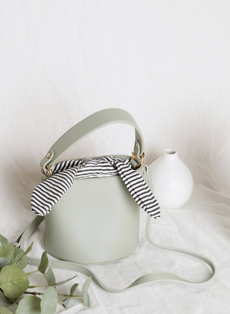 Ellie Striped Scarf Bucket Bag (Sage)