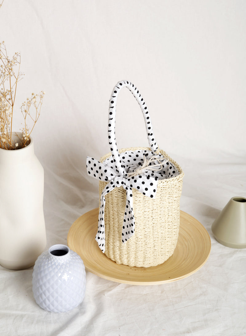 Sofie Polka Dot Ribbon Straw Tote (Light)