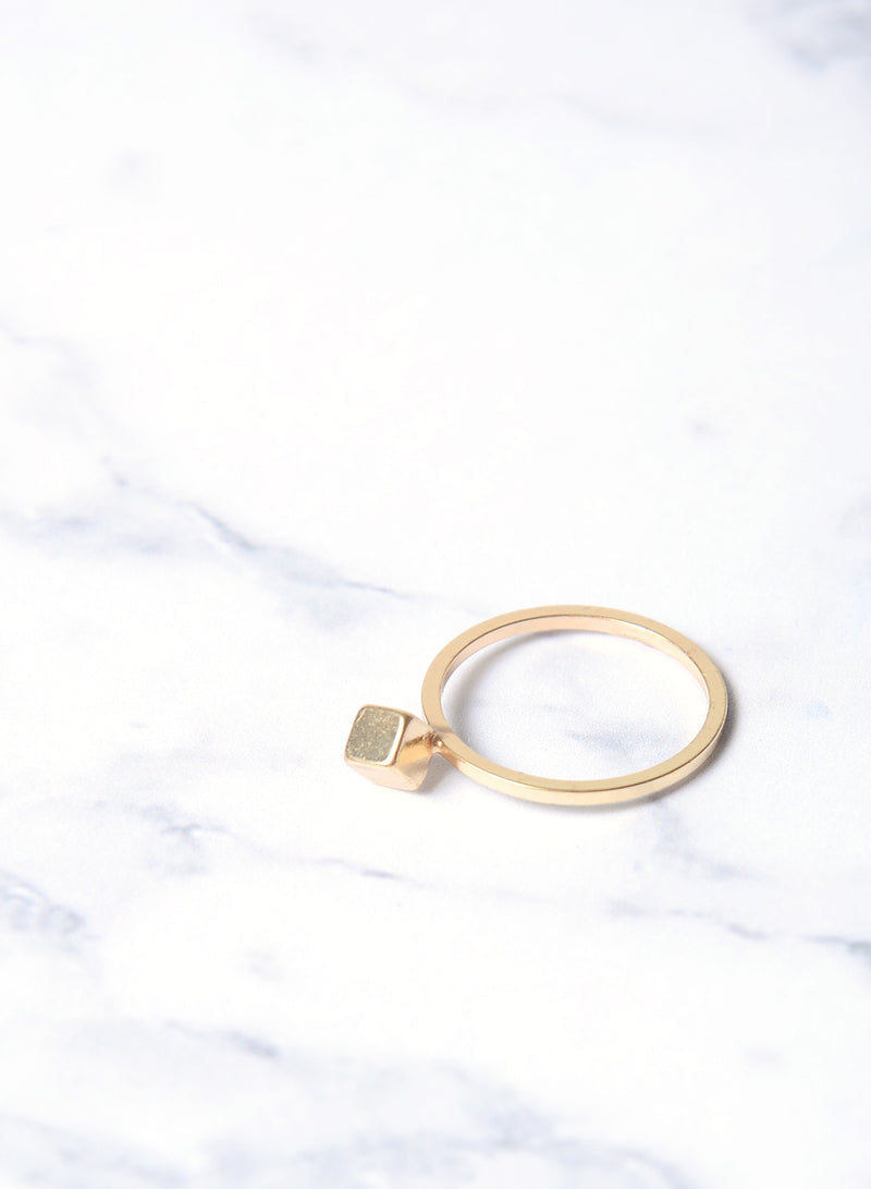 CLIO SINGLE CUBE RING (GOLD) at $ 7.00 only sold at And Well Dressed Online Fashion Store Singapore