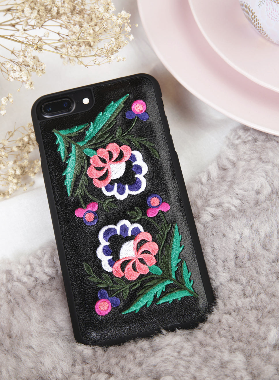 WILD FLORALS Embroidery iPhone Case (Red) at $ 19.90 only sold at And Well Dressed Online Fashion Store Singapore