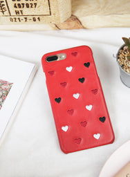ALL HEARTS Embroidery iPhone Case (Red) - And Well Dressed