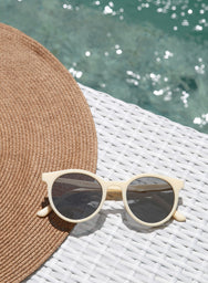 Haley Cream Round Sunnies - And Well Dressed