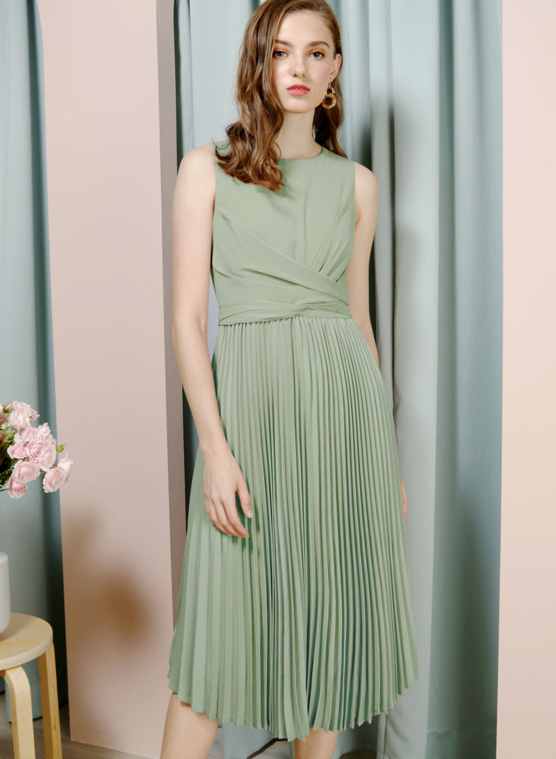 DIVINE Wrap Front Pleated Dress (Pistachio) at $ 46.50 only sold at And Well Dressed Online Fashion Store Singapore