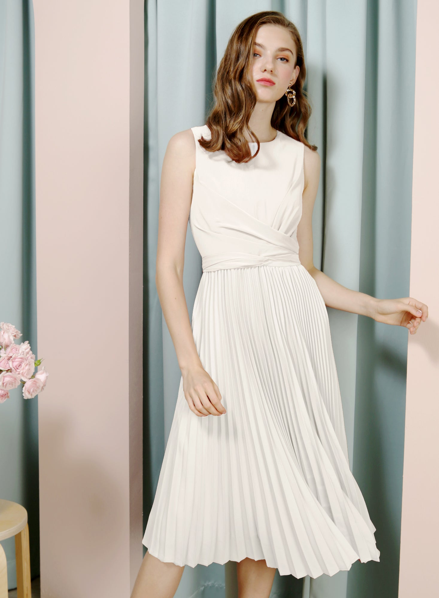 DIVINE Wrap Front Pleated Dress (White)