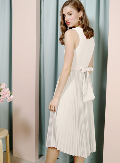 DIVINE Wrap Front Pleated Dress (White) at $ 46.50 only sold at And Well Dressed Online Fashion Store Singapore