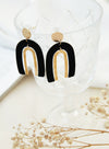 Duo Arcs Gold Earrings (Black)