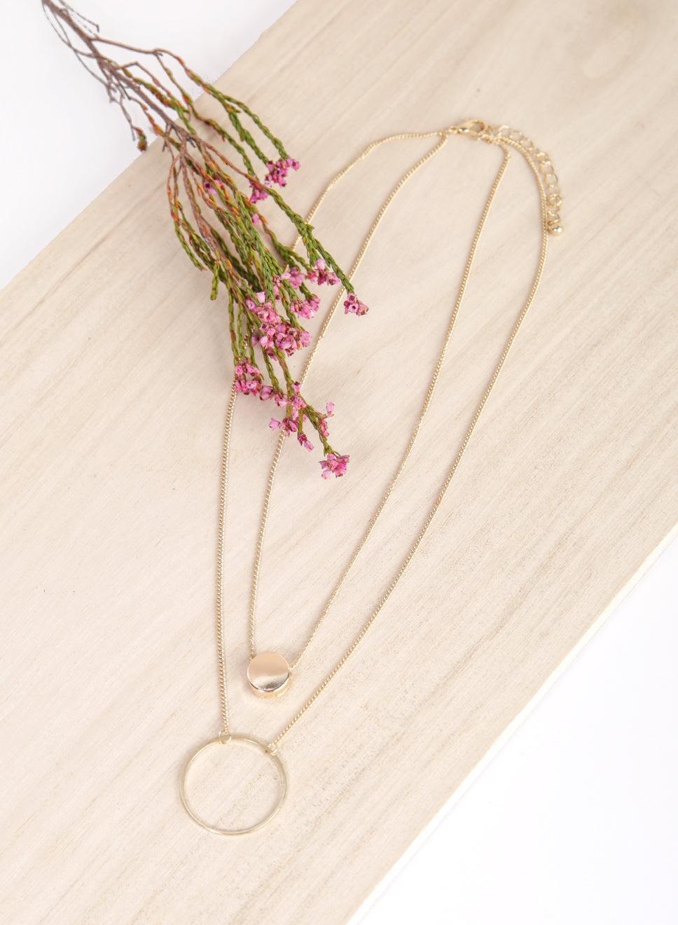 ALMA Duo Circular Necklace (Gold) at $ 19.50 only sold at And Well Dressed Online Fashion Store Singapore