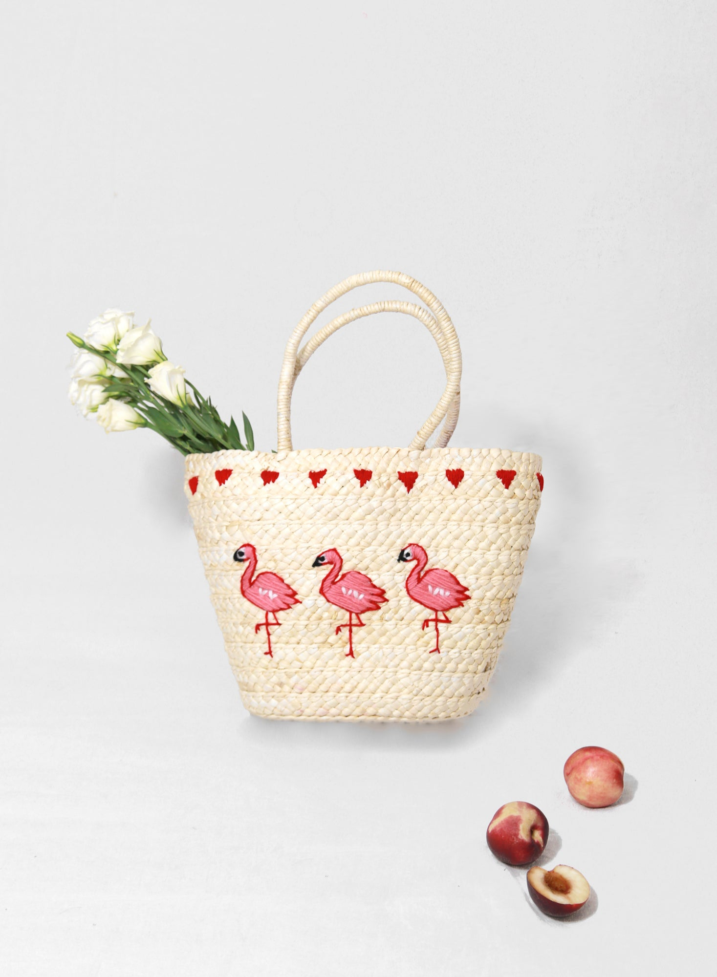 Maurie Flamingo Straw Tote