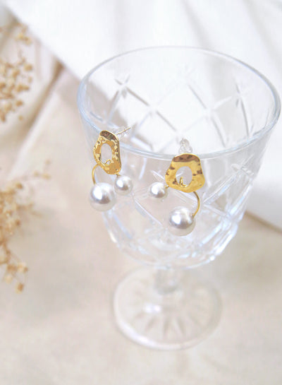 Rippled Gold Disk with Duo Pearls Earrings