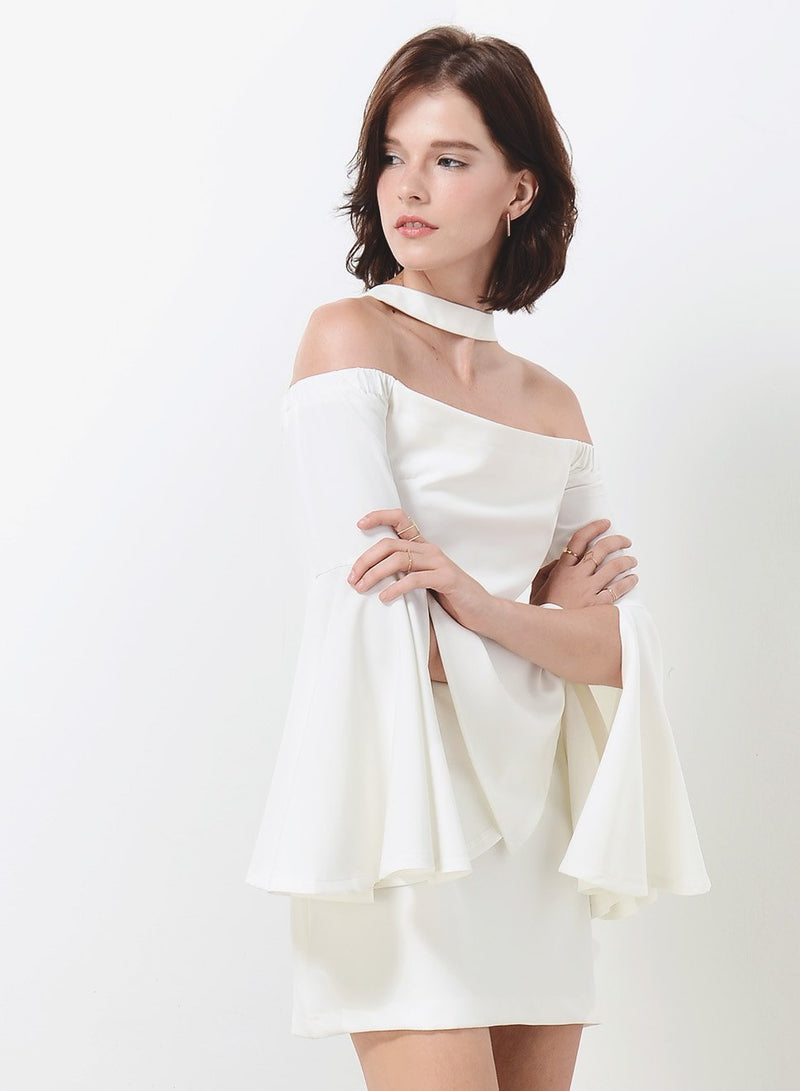 MIRAGE off shoulder sleeved dress (White) at $ 16.60 only sold at And Well Dressed Online Fashion Store Singapore