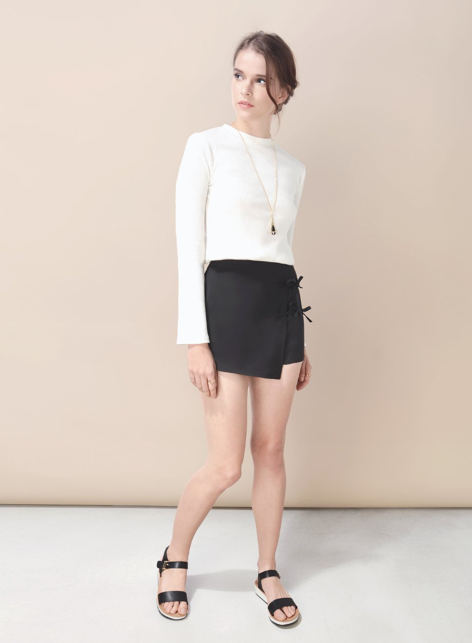 RIPTIDE ribbon tie skorts (Black) at $ 16.50 only sold at And Well Dressed Online Fashion Store Singapore