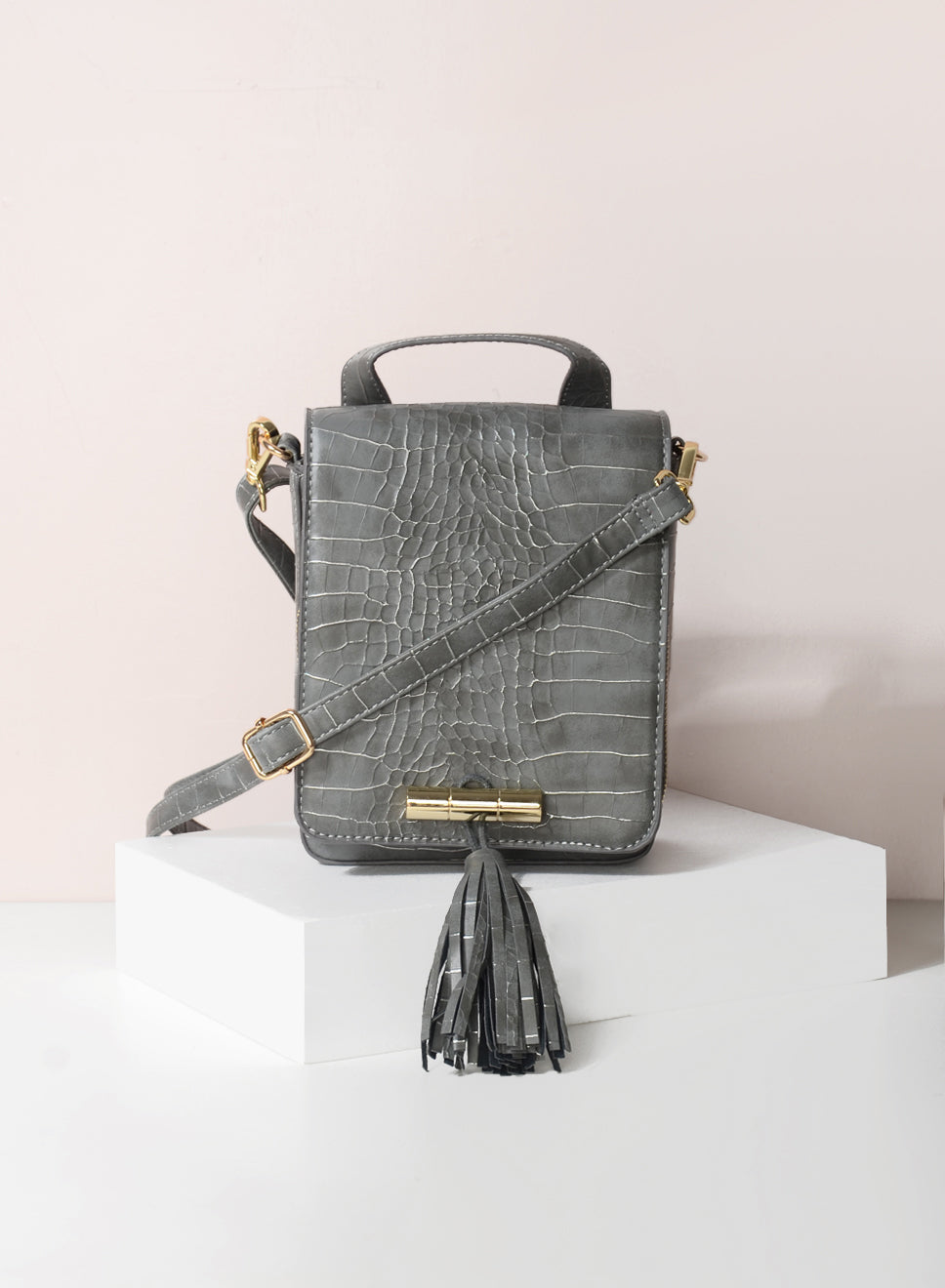 MILA CRACKED LEATHER BAG (GREY) at $ 22.50 only sold at And Well Dressed Online Fashion Store Singapore