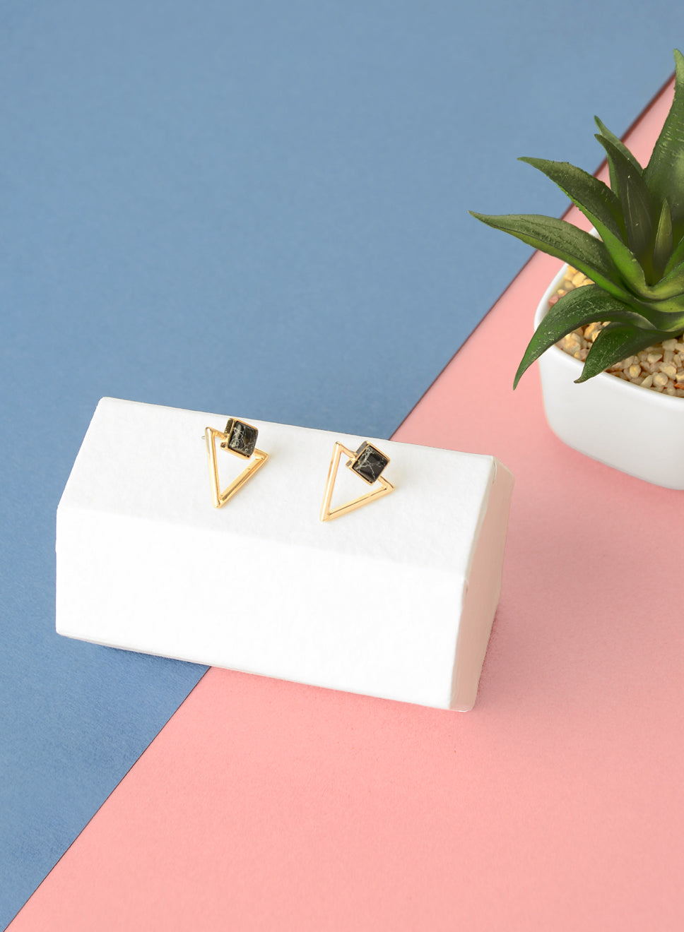 HAVEN Triangle Marble Earrings (Black) at $ 19.90 only sold at And Well Dressed Online Fashion Store Singapore