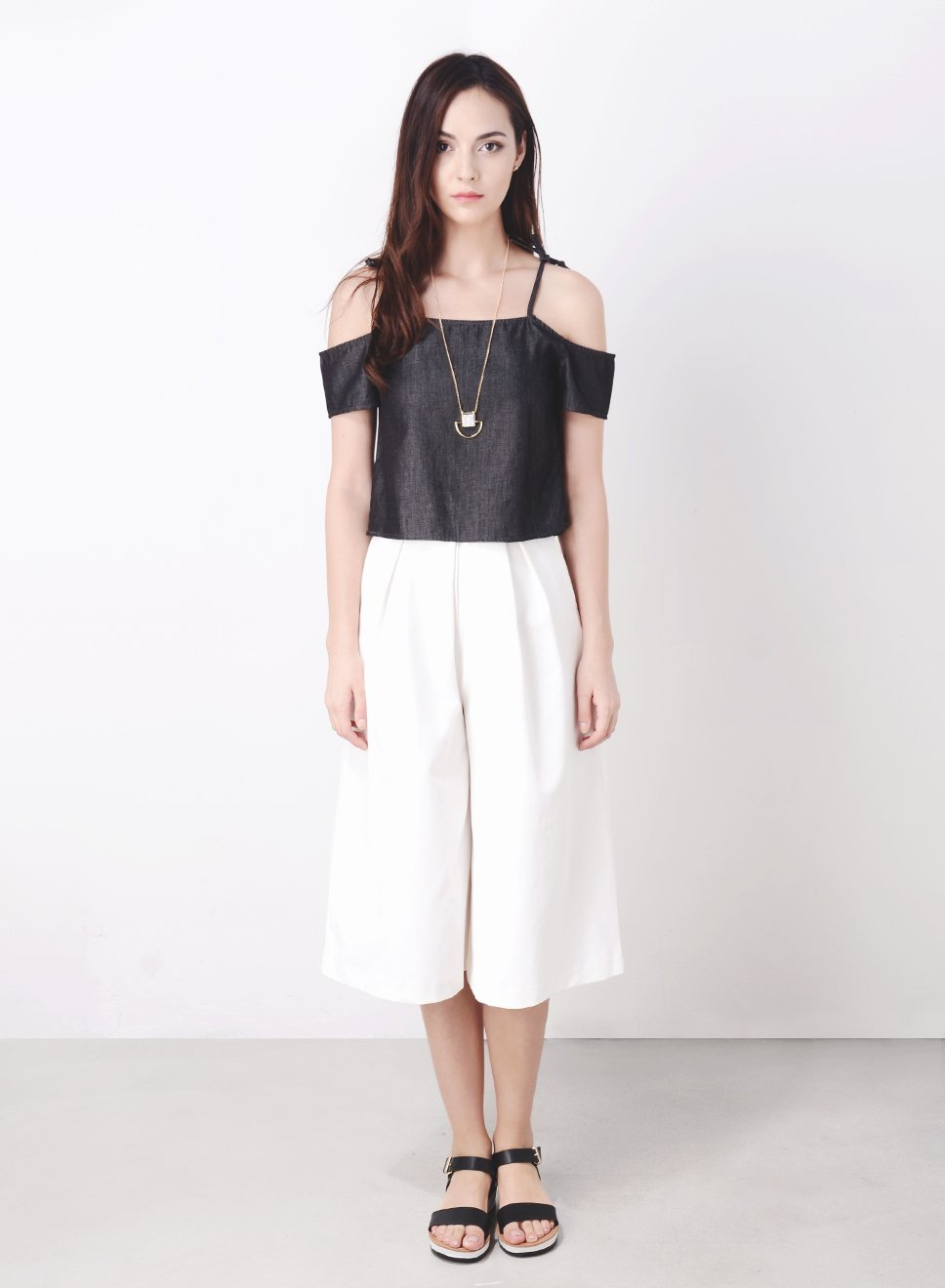 ADORN Tie Shoulder Top (Dark Wash) at $ 15.00 only sold at And Well Dressed Online Fashion Store Singapore